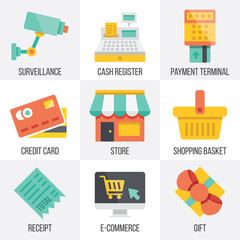 Vector retail and ecommerce icons set.  Set 6