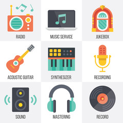 Vector music icons set. Set 11