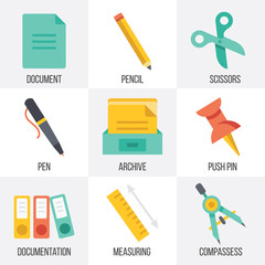 Vector office supplies icons set. Set 5