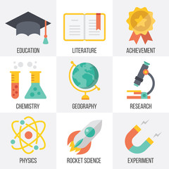 Vector education and science icons set. Set 13