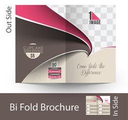 Cup Cake Shop Bi-Fold Brochure Mock up Design