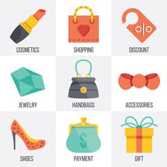 Vector women shopping icons set. Set 7
