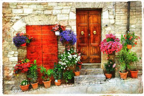 obraz lub plakat piękne kwiatowe uliczki starej włoskiej wsi. Spello, artisti