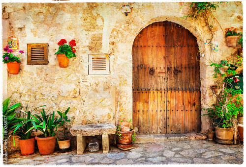 Leinwanddruck Bild authentic old streets in Valdemossa village, Mallorca