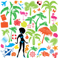Set of summer, travel and vacations symbols - silhouettes of wom
