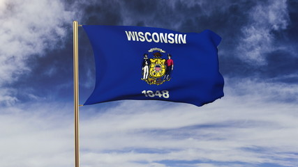 wisconsin flag waving in the wind. Green screen, alpha matte