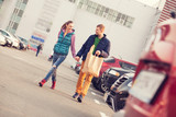 Couple walking after shopping - Fine Art prints