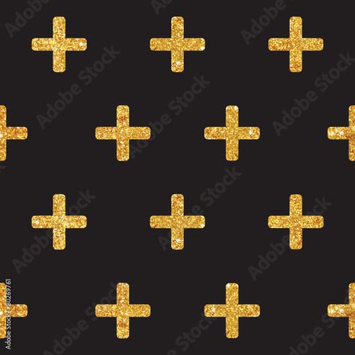 Vintage Geometric Glittery Gold Background  - Seamless Pattern - 80269761