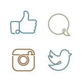 Social network icons and stickers vector set poster
