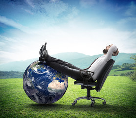 the environment is new business  - businessman think clean world