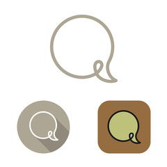 Contour social network babble icon and stickers vector set