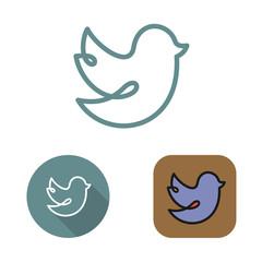 Contour social network bird icon and stickers vector set