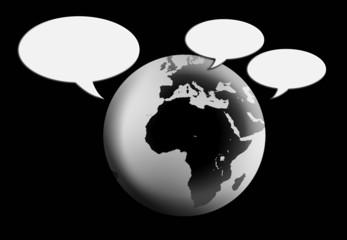 Esfera terrestre, comunicación, escribir texto