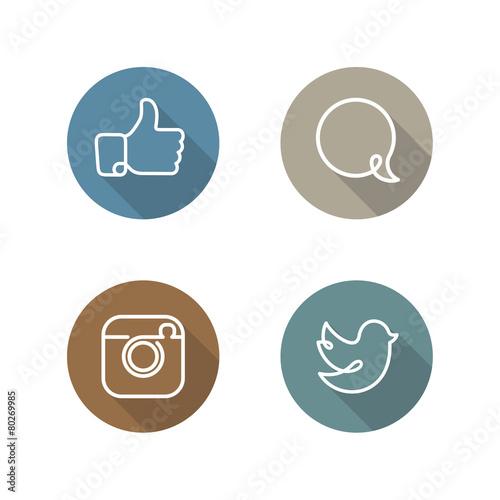 Zdjęcia na płótnie, fototapety, obrazy : Social network icons and stickers vector set