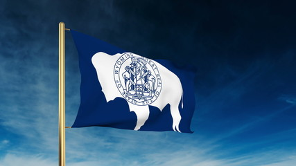 wyoming flag slider style. Waving in the win with cloud