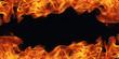 Leinwandbild Motiv burning fire flame frame on black background