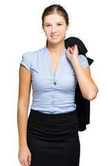 Businesswoman holding her jacket