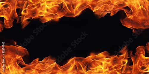 burning fire flame frame on black background