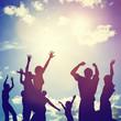 Leinwanddruck Bild - Happy friends family jump together having fun. Freedom, success