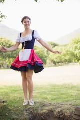 Pretty oktoberfest girl in the park