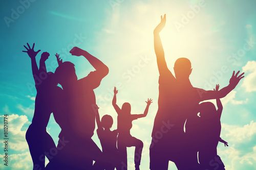 Happy friends family jump together having fun. Freedom, success - 80270774