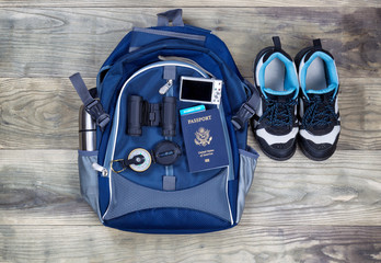 Travel Kit on Aged Wooden Boards