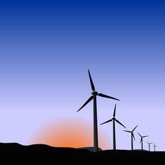 Realistic illustration wind generators of sunrise