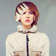 Girl with trendy haircut. fashion portrait