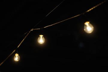 garland of lights on a dark background
