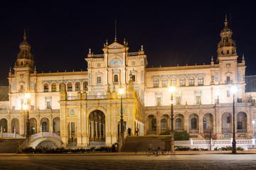 central building of Plaza de Espana in night