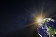 Planeta tierra sobre la Vía Láctea