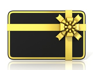 Black blank gift card, with golden ribbon. 3D render. Front