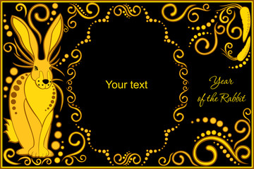 vector template with sign chinese horoscope rabbit