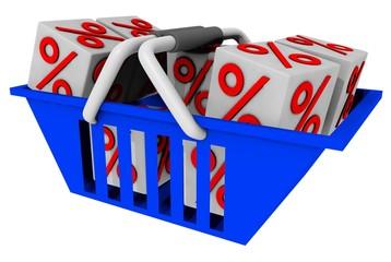 3d Rendering Einkaufskorb mit Prozenten