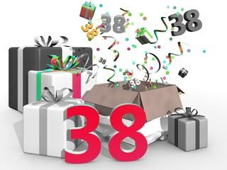 Feest en cadeaus voor nummer 38