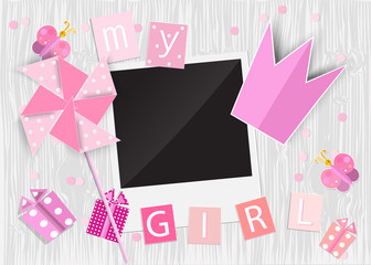 Greeting card for princess girl. Pinwheel, crown, gift box, phot