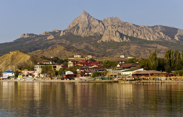 View of the Bay,the village  Koktebel and the mountains.