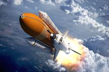 "Постер, картина, фотообои ""Space Shuttle Flying Over The Clouds"""