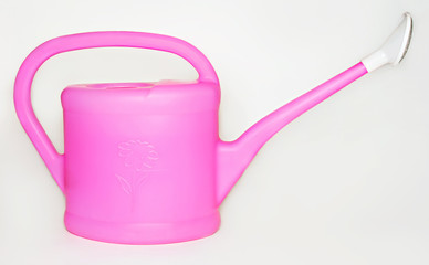 Rose-colored watering-can for houseplants on white background