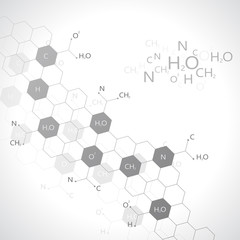 Dna molecule on gray background. Graphic background for your