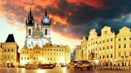 Prague Old town square, motion time lapse
