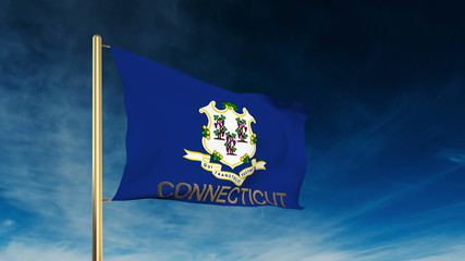 connecticut flag slider style with title. Waving in the wind