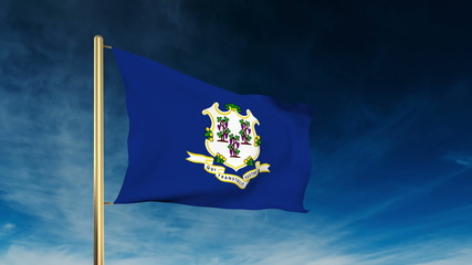 connecticut flag slider style. Waving in the win with cloud