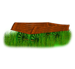 wooden wagon stands on green grass