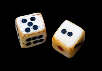 Vintage dice lucky 7 toss. Black background