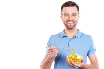 Enjoying healthy food.