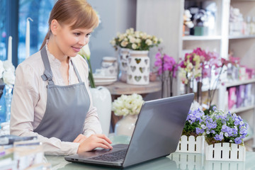 Small business entrepreneur florist in her store