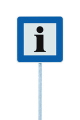 Info sign blue, black i letter icon, white frame, isolated