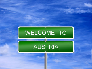 Austria Welcome Travel Sign