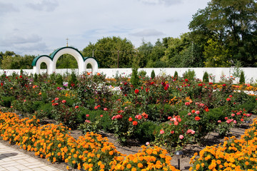 Magnificent flower garden with roses, marigolds on church ground